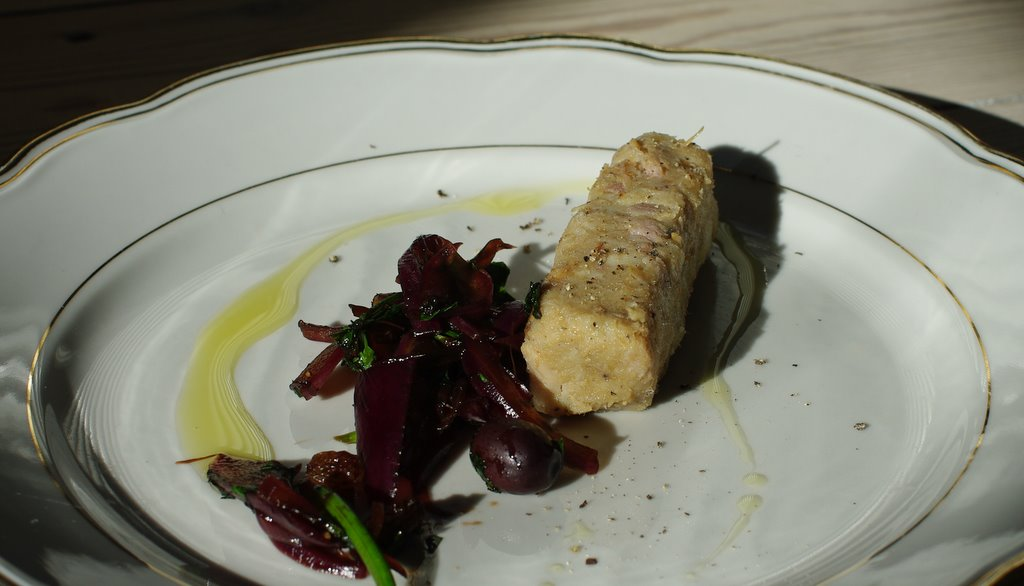 rillettes-svin-løg-balsamico-nicoiseoliven-olivenolie-opskrift